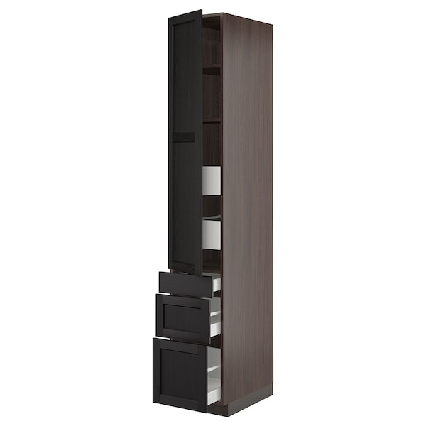"""SEKTION / MAXIMERA High cab w door/3 fronts/5 drawers, brown/Lerhyttan black stained, 15x24x90 """""""