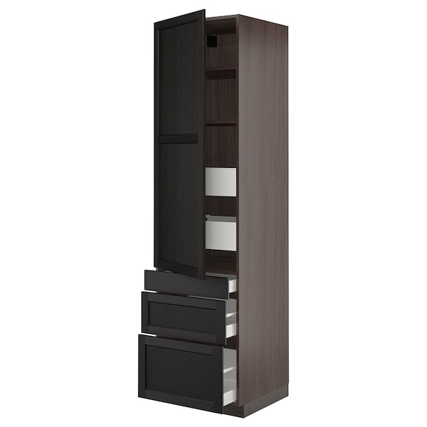 """SEKTION / MAXIMERA High cab w door/3 fronts/5 drawers, brown/Lerhyttan black stained, 24x24x90 """""""