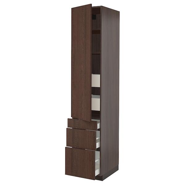 "SEKTION / MAXIMERA High cab w door/3 fronts/5 drawers, brown/Sinarp brown, 18x24x90 """