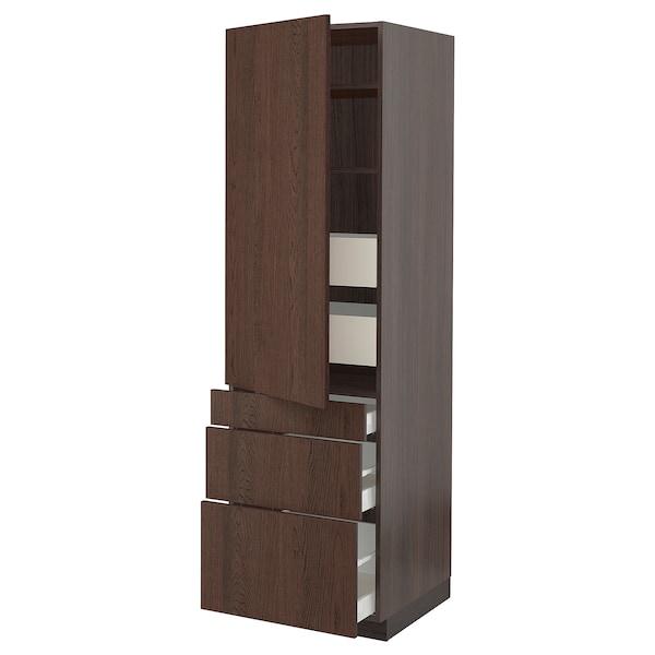 "SEKTION / MAXIMERA High cab w door/3 fronts/5 drawers, brown/Sinarp brown, 24x24x80 """