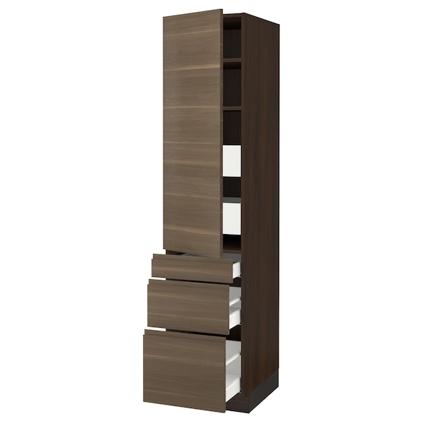 SEKTION / MAXIMERA High cab w door/3 fronts/5 drawers, brown/Voxtorp walnut effect, 18x24x80 ""