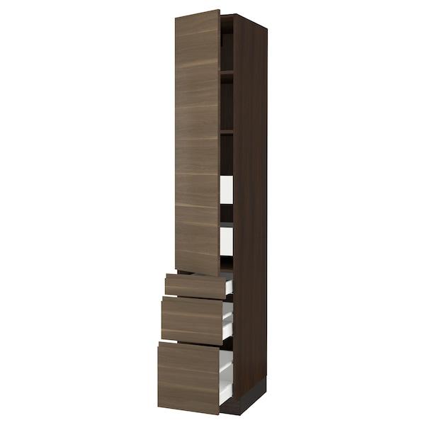 "SEKTION / MAXIMERA High cab w door/3 fronts/5 drawers, brown/Voxtorp walnut effect, 15x24x90 """