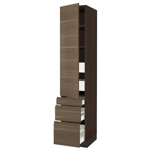 "SEKTION / MAXIMERA High cab w door/3 fronts/5 drawers, brown/Voxtorp walnut effect, 18x24x90 """