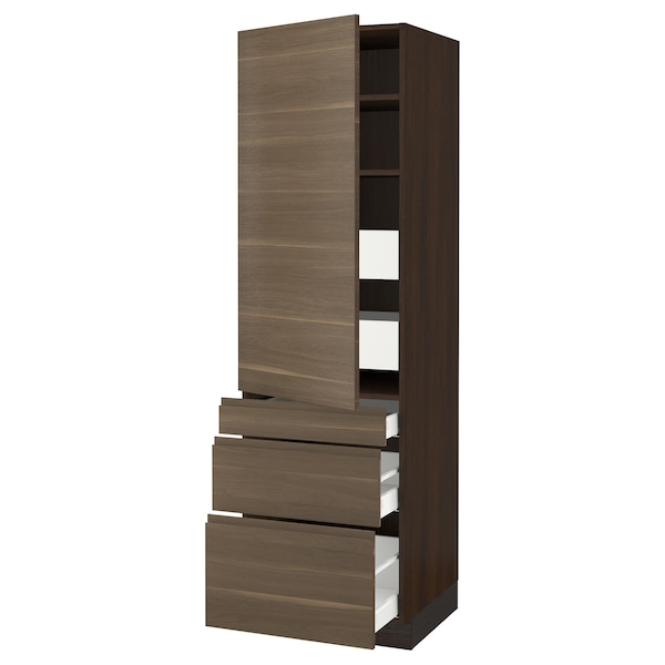 SEKTION / MAXIMERA High cab w door/3 fronts/5 drawers, brown/Voxtorp walnut, 24x24x80 ""