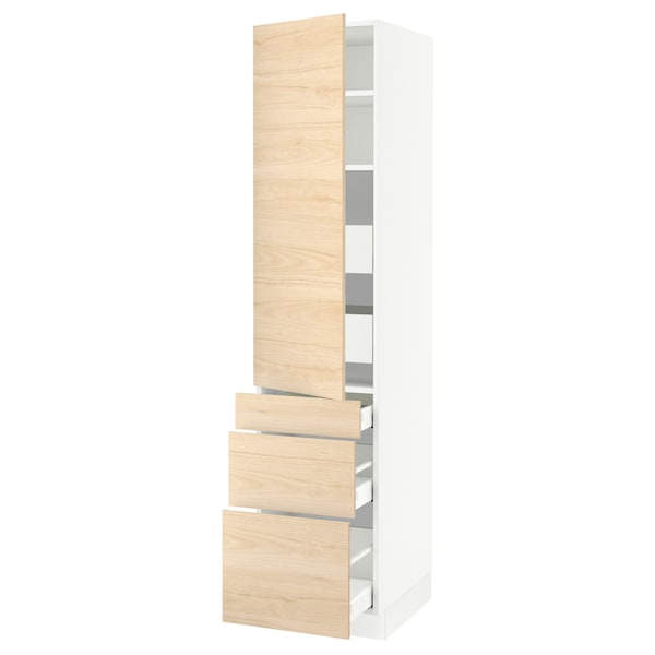 SEKTION / MAXIMERA High cab w door/3 fronts/5 drawers, white/Askersund light ash effect, 18x24x80 ""