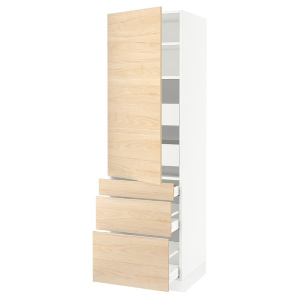 """SEKTION / MAXIMERA High cab w door/3 fronts/5 drawers, white/Askersund light ash effect, 24x24x80 """""""