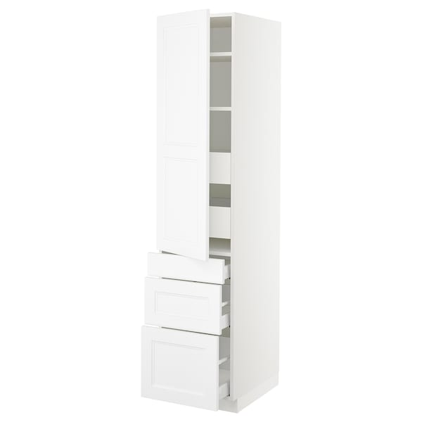 SEKTION / MAXIMERA High cab w door/3 fronts/5 drawers, white/Axstad matt white, 18x24x80 ""
