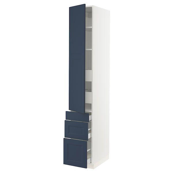 """SEKTION / MAXIMERA High cab w door/3 fronts/5 drawers, white Axstad/matte blue, 15x24x90 """""""