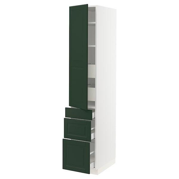 SEKTION / MAXIMERA High cab w door/3 fronts/5 drawers, white/Bodbyn dark green, 15x24x80 ""