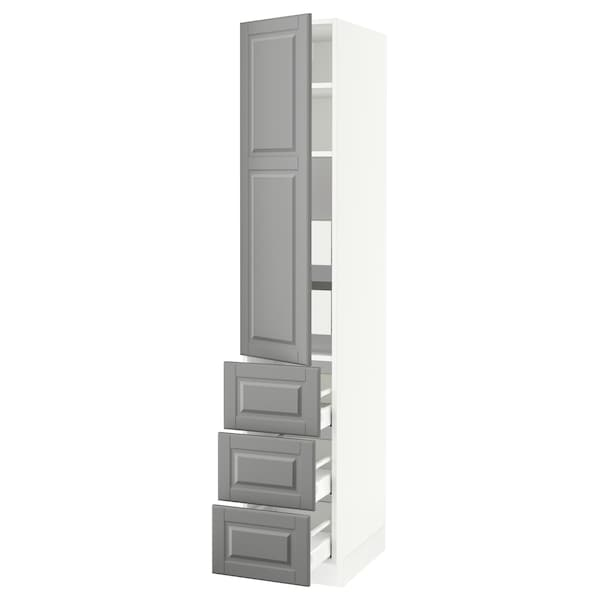 SEKTION / MAXIMERA High cab w door/3 fronts/5 drawers, white/Bodbyn gray, 15x24x80 ""