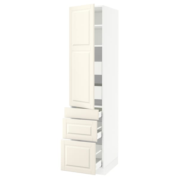 SEKTION / MAXIMERA High cab w door/3 fronts/5 drawers, white/Bodbyn off-white, 18x24x80 ""