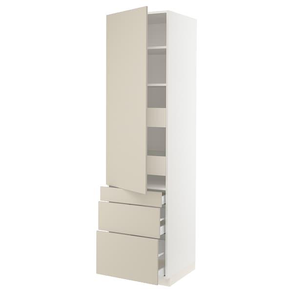 "SEKTION / MAXIMERA High cab w door/3 fronts/5 drawers, white/Havstorp beige, 24x24x90 """