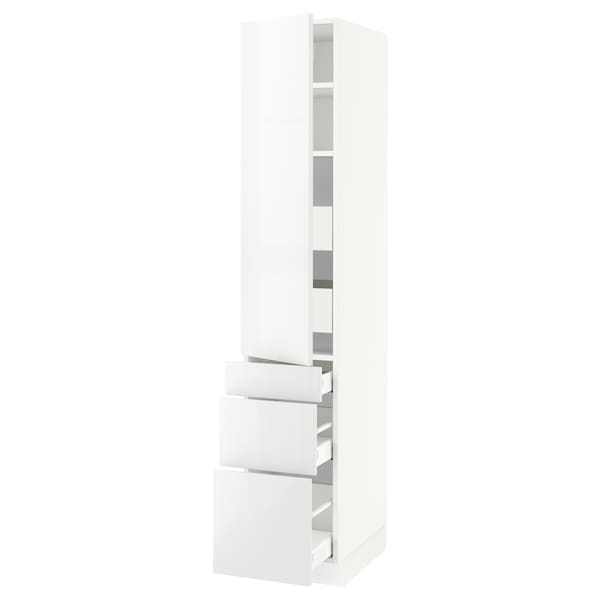 """SEKTION / MAXIMERA High cab w door/3 fronts/5 drawers, white/Ringhult white, 15x24x80 """""""