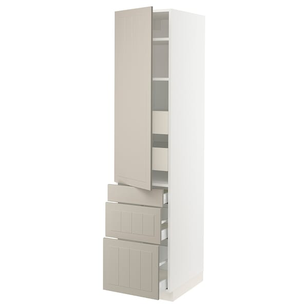 SEKTION / MAXIMERA High cab w door/3 fronts/5 drawers, white/Stensund beige, 18x24x80 ""