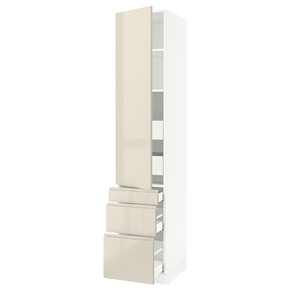 """SEKTION / MAXIMERA High cab w door/3 fronts/5 drawers, white/Voxtorp high-gloss light beige, 18x24x90 """""""