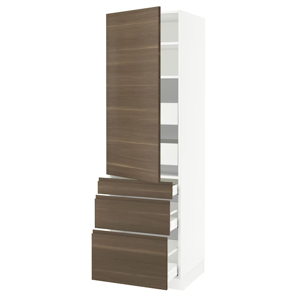 SEKTION / MAXIMERA High cab w door/3 fronts/5 drawers, white/Voxtorp walnut effect, 24x24x80 ""