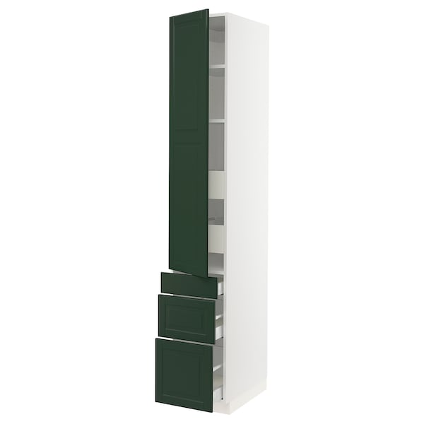 "SEKTION / MAXIMERA high cab w door/3 fronts/5 drawers white/Bodbyn dark green 15 "" 24 "" 24 3/4 "" 90 """