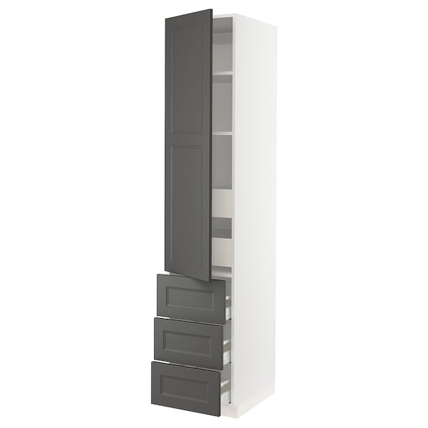 "SEKTION / MAXIMERA high cabinet w/door & 5 drawers white/Axstad dark gray 18 "" 24 "" 24 3/4 "" 90 """