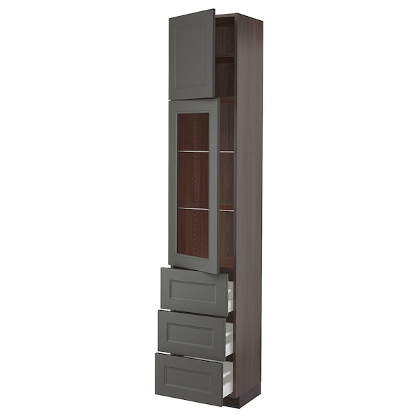 SEKTION / MAXIMERA High cabinet w 2 doors & 3 drawers, brown/Axstad dark gray, 18x15x90 ""