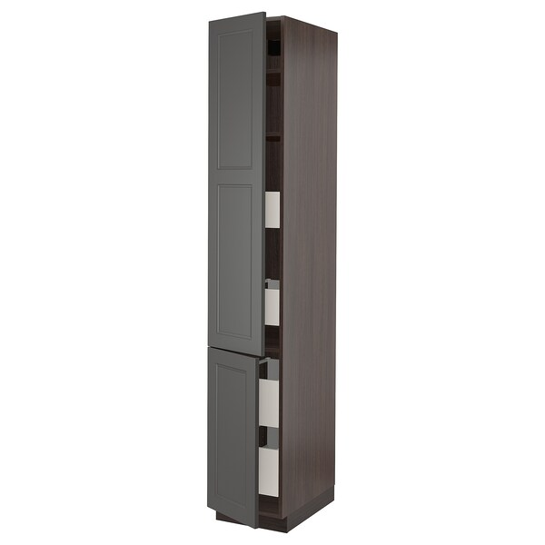 SEKTION / MAXIMERA High cabinet w/2 doors & 4 drawers, brown/Axstad dark gray, 15x24x90 ""