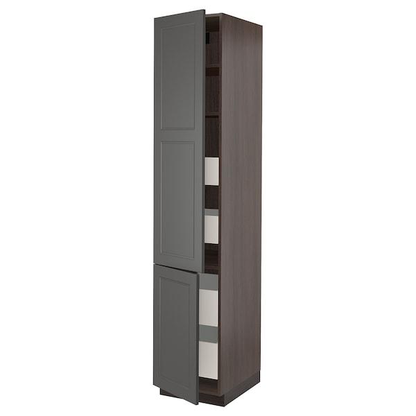 "SEKTION / MAXIMERA High cabinet w/2 doors & 4 drawers, brown/Axstad dark gray, 18x24x90 """