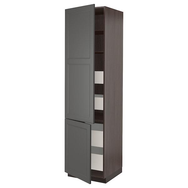 "SEKTION / MAXIMERA High cabinet w/2 doors & 4 drawers, brown/Axstad dark gray, 24x24x90 """