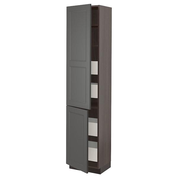 "SEKTION / MAXIMERA High cabinet w/2 doors & 4 drawers, brown/Axstad dark gray, 18x15x80 """