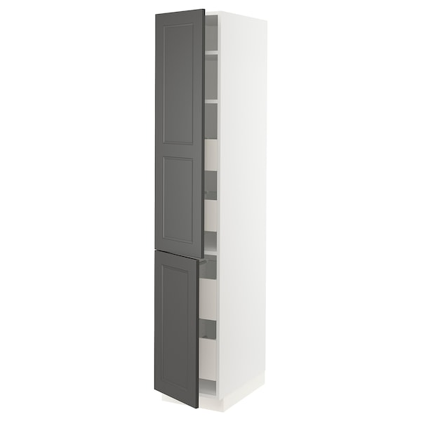 SEKTION / MAXIMERA High cabinet w/2 doors & 4 drawers, white/Axstad dark gray, 15x24x80 ""