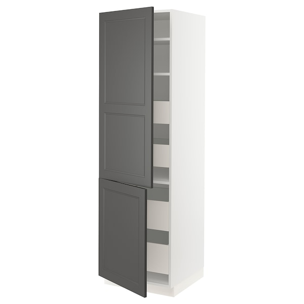SEKTION / MAXIMERA High cabinet w/2 doors & 4 drawers, white/Axstad dark gray, 24x24x80 ""