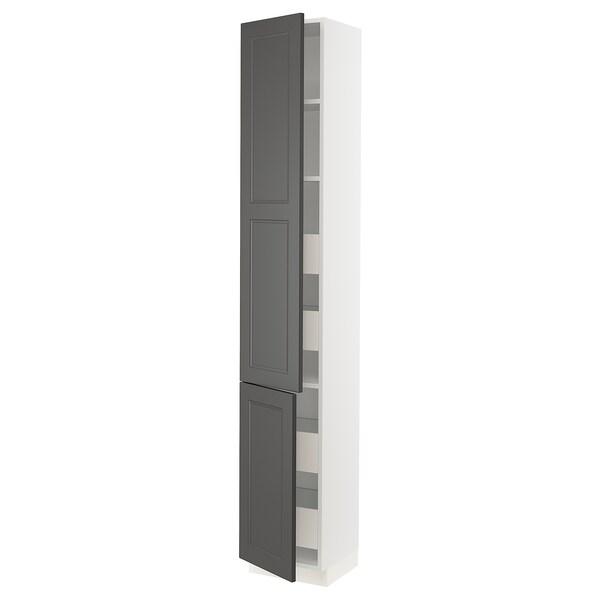 "SEKTION / MAXIMERA High cabinet w/2 doors & 4 drawers, white/Axstad dark gray, 15x15x90 """
