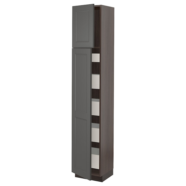 "SEKTION / MAXIMERA High cabinet w/2 doors & 5 drawers, brown/Axstad dark gray, 15x15x80 """