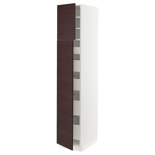 "SEKTION / MAXIMERA High cabinet w/2 doors & 5 drawers, white Askersund/dark brown ash effect, 15x24x80 """