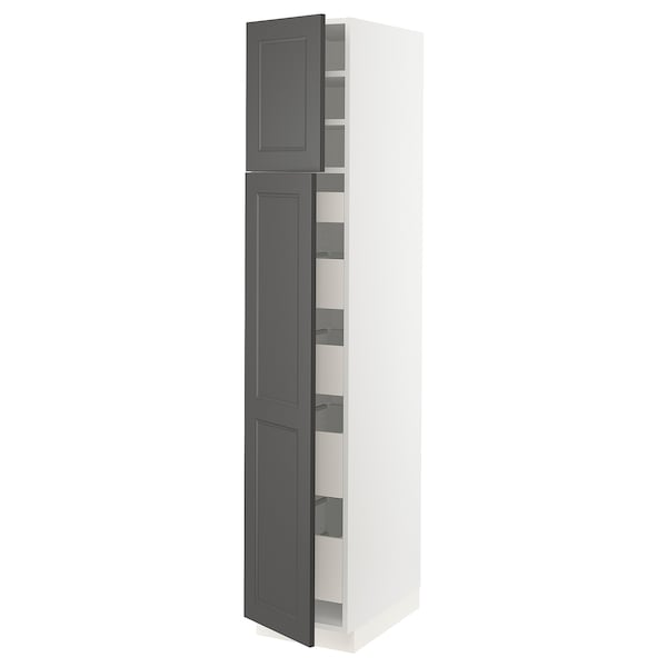 SEKTION / MAXIMERA High cabinet w/2 doors & 5 drawers, white/Axstad dark gray, 15x24x80 ""