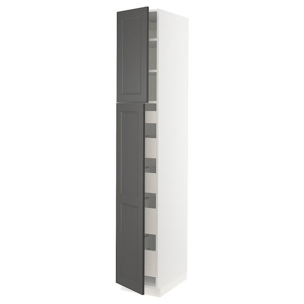 "SEKTION / MAXIMERA High cabinet w/2 doors & 5 drawers, white/Axstad dark gray, 15x24x90 """