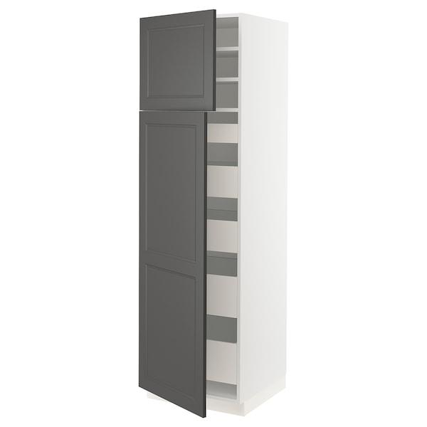 "SEKTION / MAXIMERA High cabinet w/2 doors & 5 drawers, white/Axstad dark gray, 24x24x80 """
