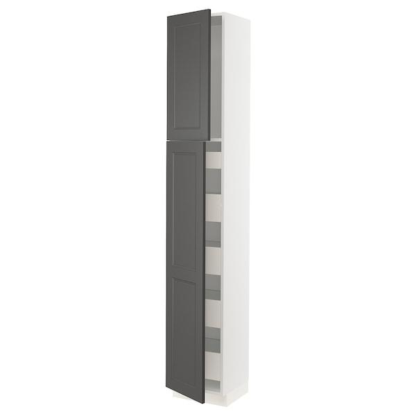 "SEKTION / MAXIMERA High cabinet w/2 doors & 5 drawers, white/Axstad dark gray, 15x15x90 """
