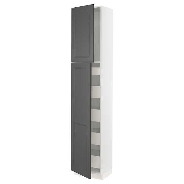"SEKTION / MAXIMERA High cabinet w/2 doors & 5 drawers, white/Axstad dark gray, 18x15x90 """