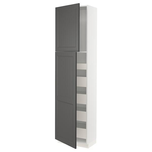"SEKTION / MAXIMERA High cabinet w/2 doors & 5 drawers, white/Axstad dark gray, 24x15x90 """