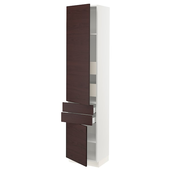 SEKTION / MAXIMERA High cabinet w/2doors & 4 drawers, white Askersund/dark brown ash effect, 18x15x80 ""