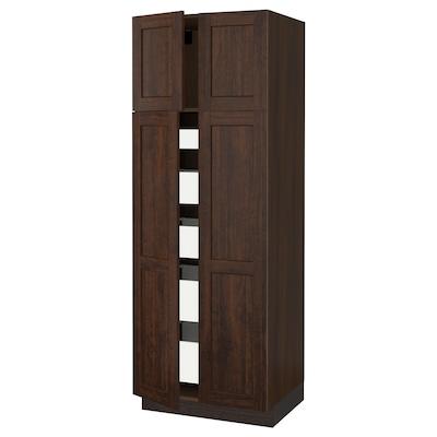 """SEKTION / MAXIMERA high cabinet w 4 doors/5 drawers brown/Edserum brown 30 """" 24 """" 24 3/4 """" 80 """""""