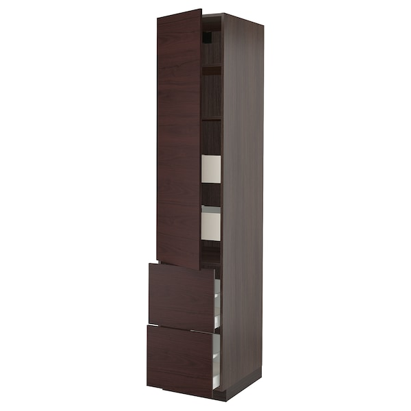 SEKTION / MAXIMERA High cabinet w/door & 4 drawers, brown Askersund/dark brown ash effect, 18x24x90 ""