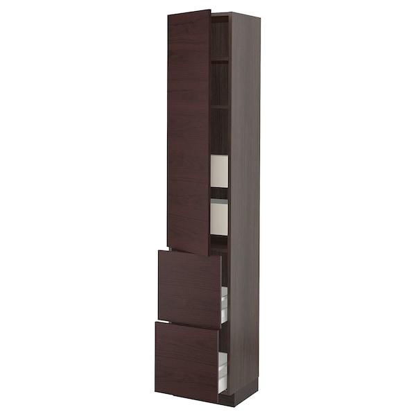 """SEKTION / MAXIMERA High cabinet w/door & 4 drawers, brown Askersund/dark brown ash effect, 15x15x80 """""""