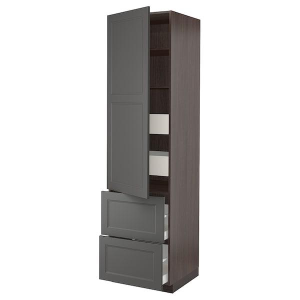 "SEKTION / MAXIMERA High cabinet w/door & 4 drawers, brown/Axstad dark gray, 24x24x90 """