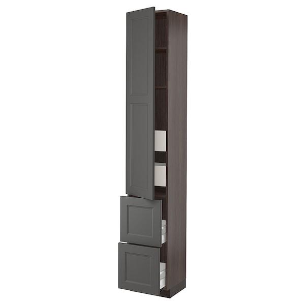 "SEKTION / MAXIMERA High cabinet w/door & 4 drawers, brown/Axstad dark gray, 15x15x90 """