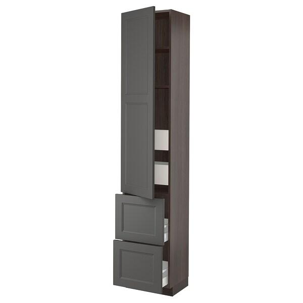 "SEKTION / MAXIMERA High cabinet w/door & 4 drawers, brown/Axstad dark gray, 18x15x90 """