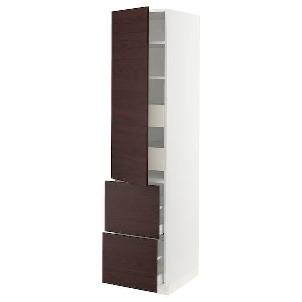 """SEKTION / MAXIMERA High cabinet w/door & 4 drawers, white Askersund/dark brown ash effect, 18x24x80 """""""