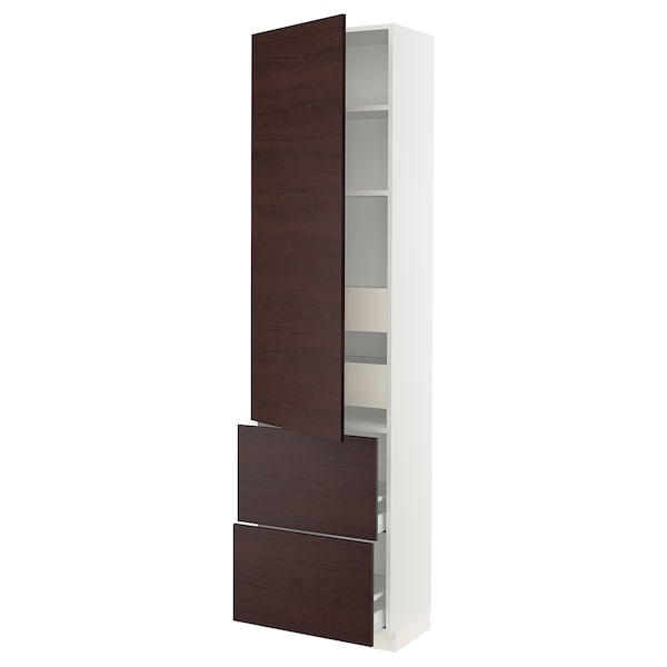 SEKTION / MAXIMERA High cabinet w/door & 4 drawers, white Askersund/dark brown ash effect, 24x15x90 ""