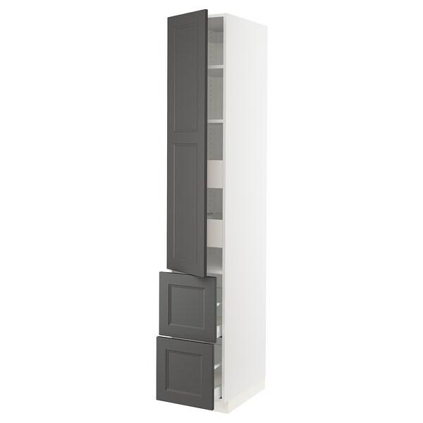 "SEKTION / MAXIMERA High cabinet w/door & 4 drawers, white/Axstad dark gray, 15x24x90 """