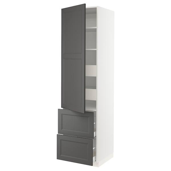"SEKTION / MAXIMERA High cabinet w/door & 4 drawers, white/Axstad dark gray, 24x24x90 """