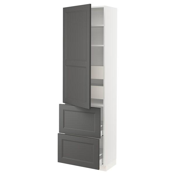 "SEKTION / MAXIMERA High cabinet w/door & 4 drawers, white/Axstad dark gray, 24x15x80 """